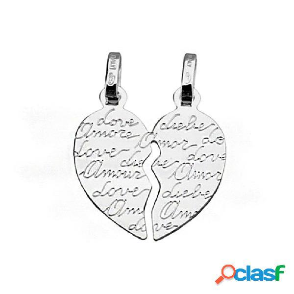 Colgante plata ley 925m corazón partido palabras love