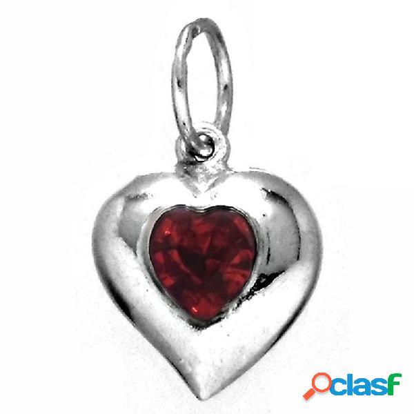 Colgante plata ley 925m corazón piedra roja forrado hueco