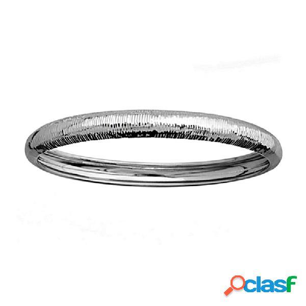 Pulsera brazalete plata ley 925m rodiada media cana rayada 8mm