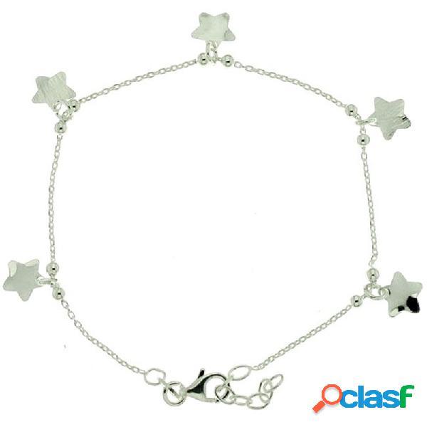 Pulsera plata ley 925m 18cm. colgantes fetiches 5 estrellas