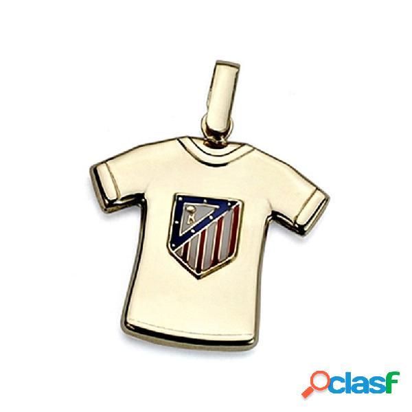 Colgante camiseta escudo atlético de madrid oro ley 18k 22mm.