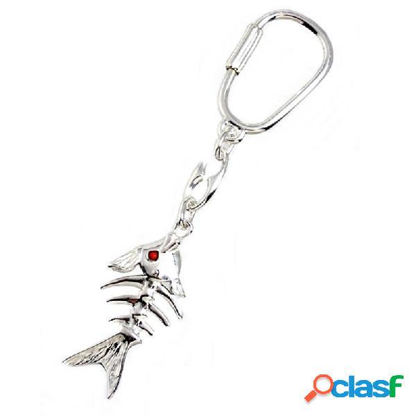 Llavero plata ley 925m raspa esqueleto pez articulación móvil
