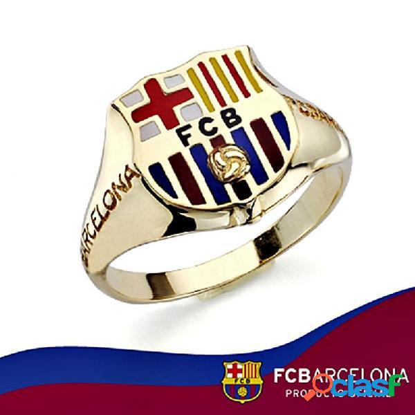Sello escudo f.c. barcelona oro de ley 9k caballero silueta
