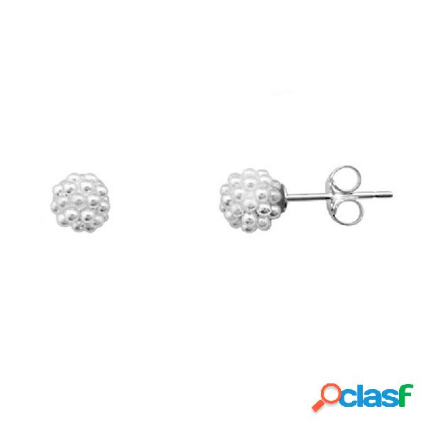 Pendientes plata 925m rodiada de plata bola multi perla
