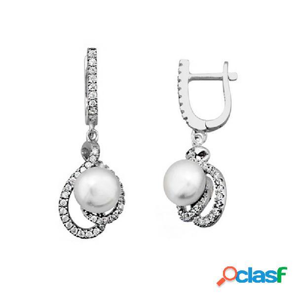 Pendientes plata 925m rodiada de plata con perla cultivada