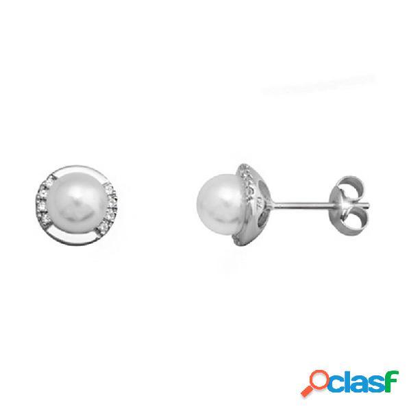 Pendientes plata 925m rodiada plata con casqilla y perla