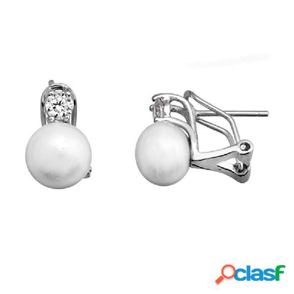 Pendientes plata 925m rodiada plata garra circonita y perla