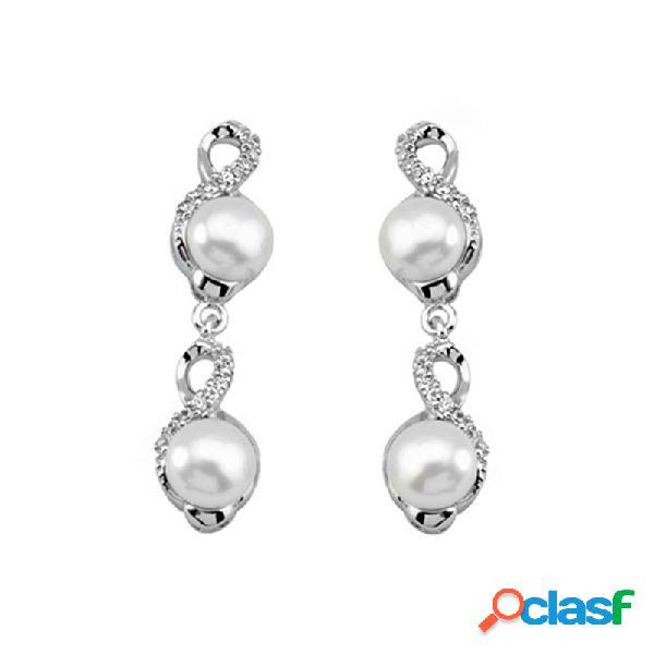 Pendientes plata ley 925m largo perla circonitas cierre