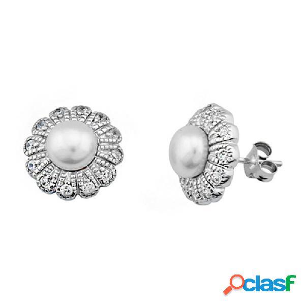 Pendientes plata ley 925m perla circonitas flor pétalos