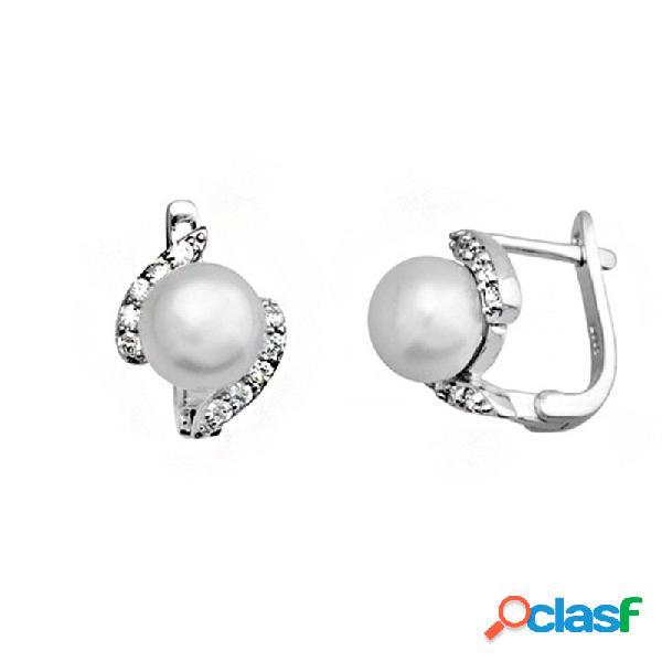 Pendientes plata ley 925m perla cultivada 7.5mm. circonitas 2 bandas