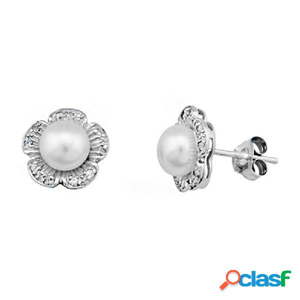 Pendientes plata ley 925m perla cultivada circonitas margarita