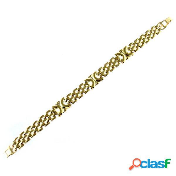 Pulsera chapada oro 18,5cm. eslabones pánter 3 adornos