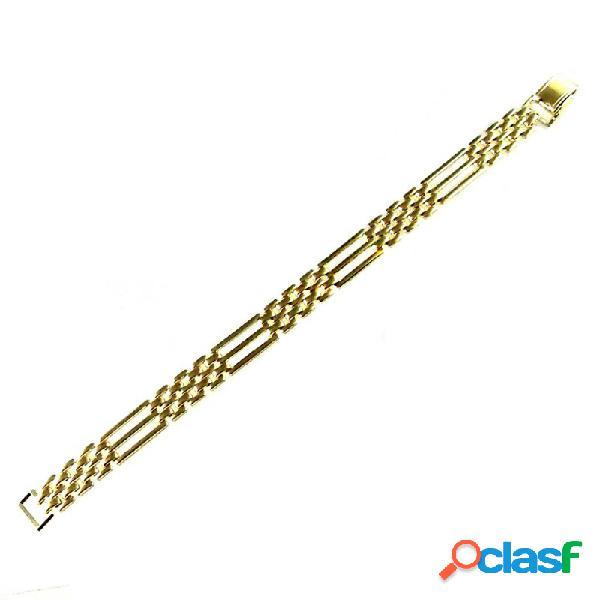 Pulsera chapada oro 19cm. eslabones pánter 4 adornos