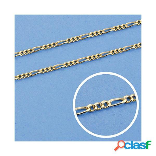 Cadena oro 18k 50cm. eslabón 3x1 hueca ancho 1 mm. 1,80 gr