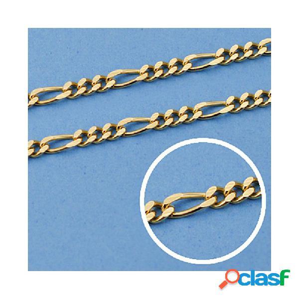 Cadena oro 18k maciza 50cm. eslabón 3x1 ancho 2 mm. 8.60 grs.