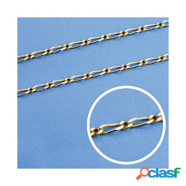 Cadena oro 18k maciza 60cm. eslabón 1x1 ancho 2 mm. 7.15 grs.