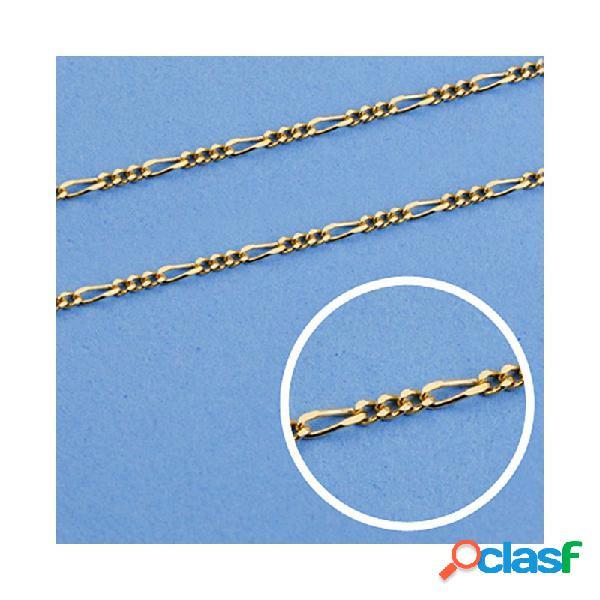 Cadena oro 18k maciza 60cm. eslabón 3x1 ancho 1 mm. 3.00 grs.