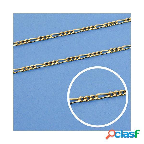 Cadena oro 18k maciza 60cm. eslabón 3x1 ancho 1 mm. 3.75 grs.