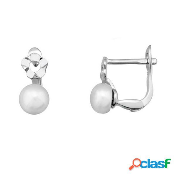 Pendientes plata 925m rodiada plata flor y perla cultivada