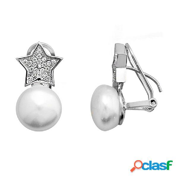 Pendientes plata 925m rodiada plata forma estrella