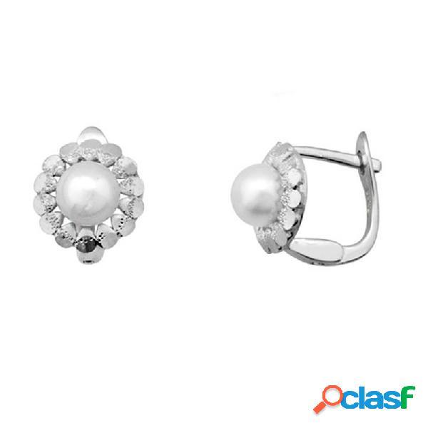 Pendientes plata 925m rodiada plata orla brillo y perla