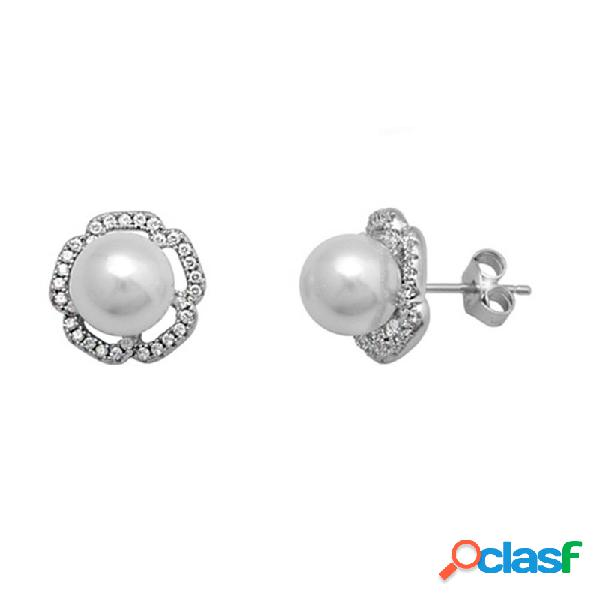Pendientes plata 925m rodiada plata perla shell con circonitas