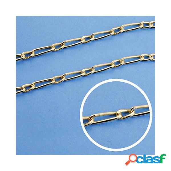 Cadena oro 18k eslabón 1x1 hueca 50cm. ancho 3 mm. 6.10 gr.