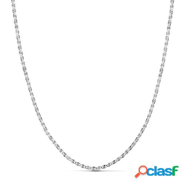 Cadena oro blanco 18k maciza diamantada 45cm. 2mm. 2.95 gr