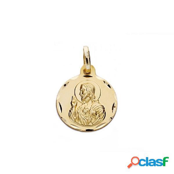 Medalla oro 18k escapulario 14mm. virgen carmen corazón jesús