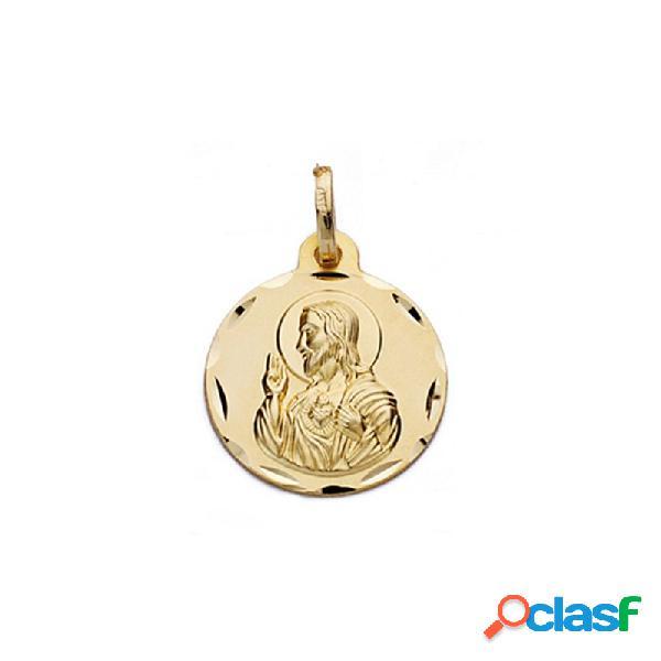 Medalla oro 18k escapulario 16mm. virgen carmen corazón jesús