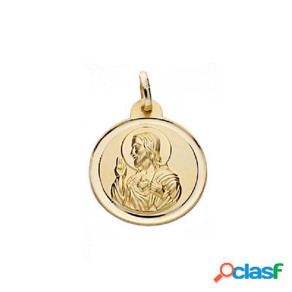 Medalla oro 18k escapulario 20mm. virgen carmen corazón jesús