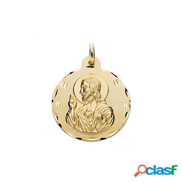 Medalla oro 18k escapulario 22mm. virgen carmen corazón jesús