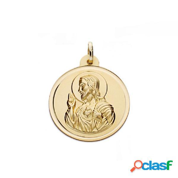 Medalla oro 18k escapulario 24mm. virgen carmen corazón jesús