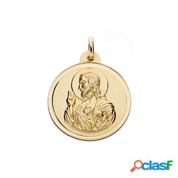 Medalla oro 18k escapulario 26mm. virgen carmen corazón jesús