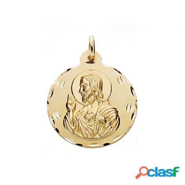 Medalla oro 18k escapulario 28mm. virgen carmen corazón jesús
