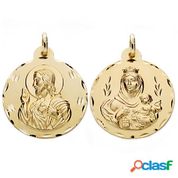 Medalla oro 18k escapulario 30mm. virgen carmen corazón jesús