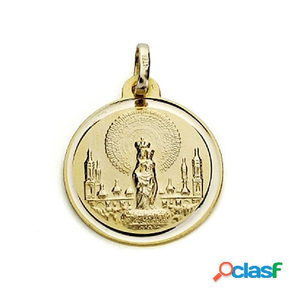 Medalla oro 18k virgen del pilar 18mm. bisel