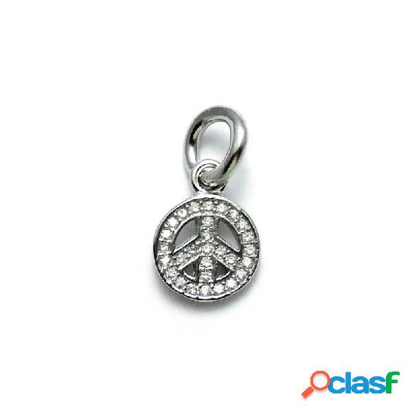 Fetiche charm colgante plata ley 925m símbolo paz 9mm.