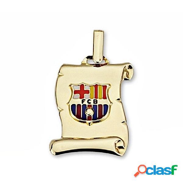 Pergamino escudo f.c. barcelona oro ley 9k mediano esmaltado