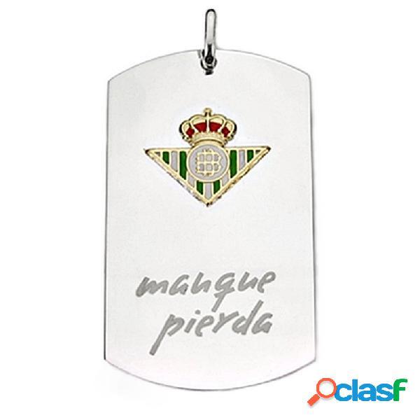 Colgante chapa escudo real betis plata ley y oro ley 18k
