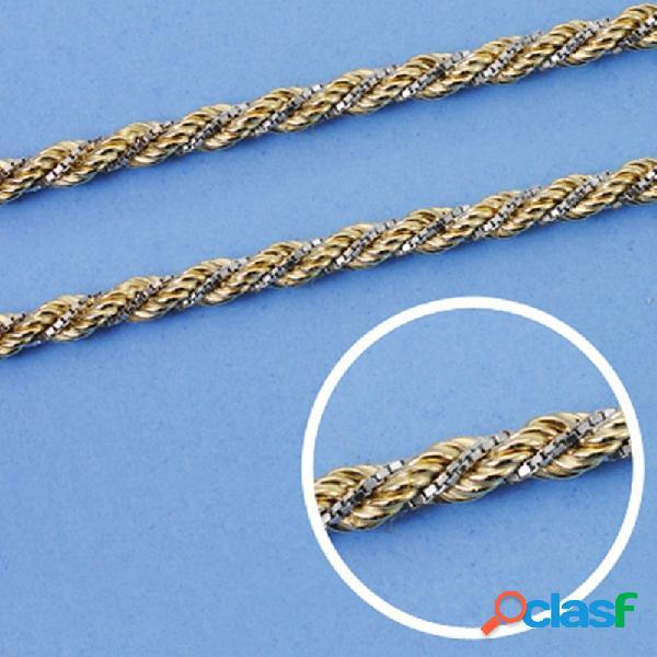 Cordón cadena oro 18k bicolor salomónico 45cm. 3mm.