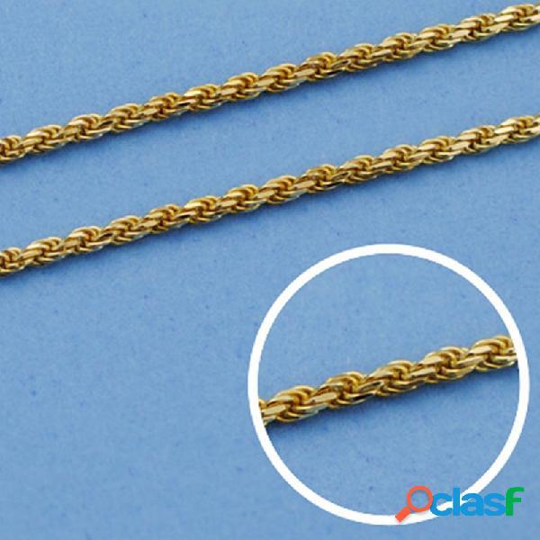 Cordón cadena oro 18k salomónico 60cm. macizo 1.5mm.