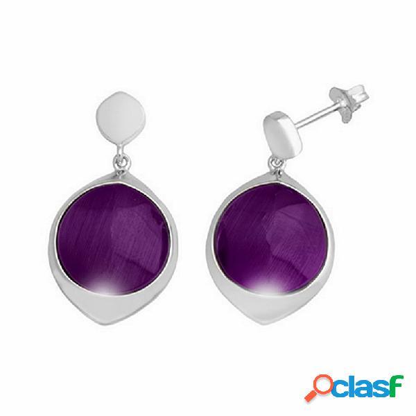 Pendientes plata ley 925m 12mm piedra color violeta