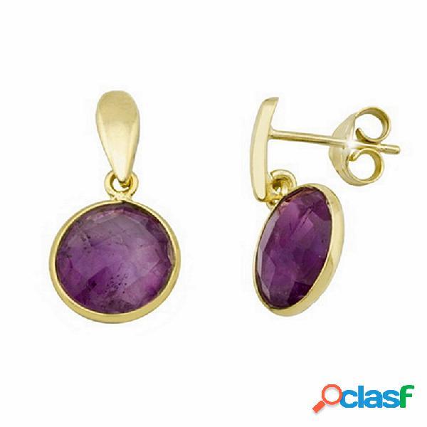Pendientes plata ley 925m dorada 13mm piedra violeta