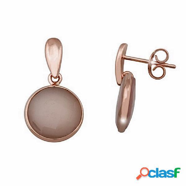 Pendientes plata ley 925m rosada 13mm piedra briolet