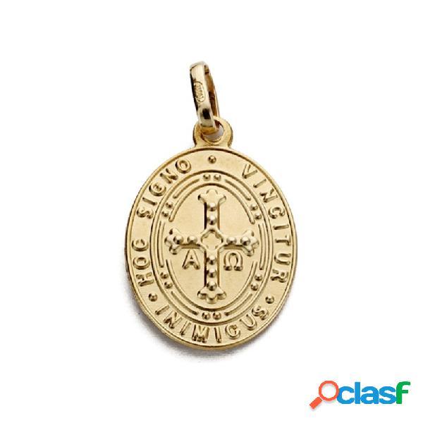 Medalla escapulario oro 18k virgen covadonga y cruz asturiana
