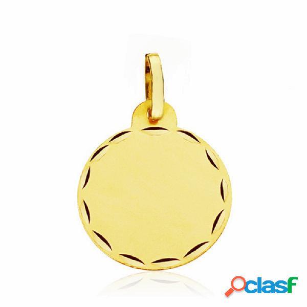 Medalla disco oro 18k lisa 15mm. labrada tallada