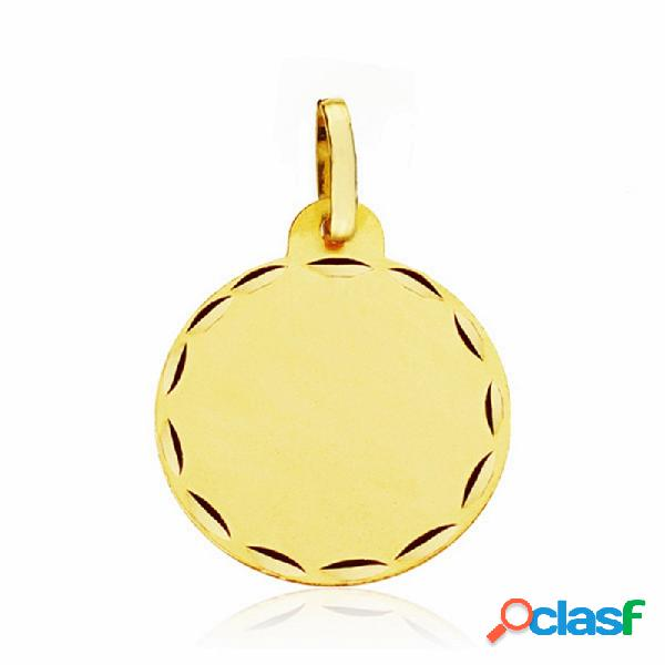 Medalla disco oro 18k lisa 17mm. labrada tallada