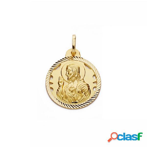 Medalla oro 18k escapulario 20mm virgen carmen corazón jesús