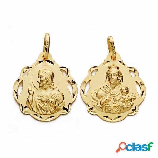 Medalla oro 18k escapulario 23mm virgen carmen corazón jesús
